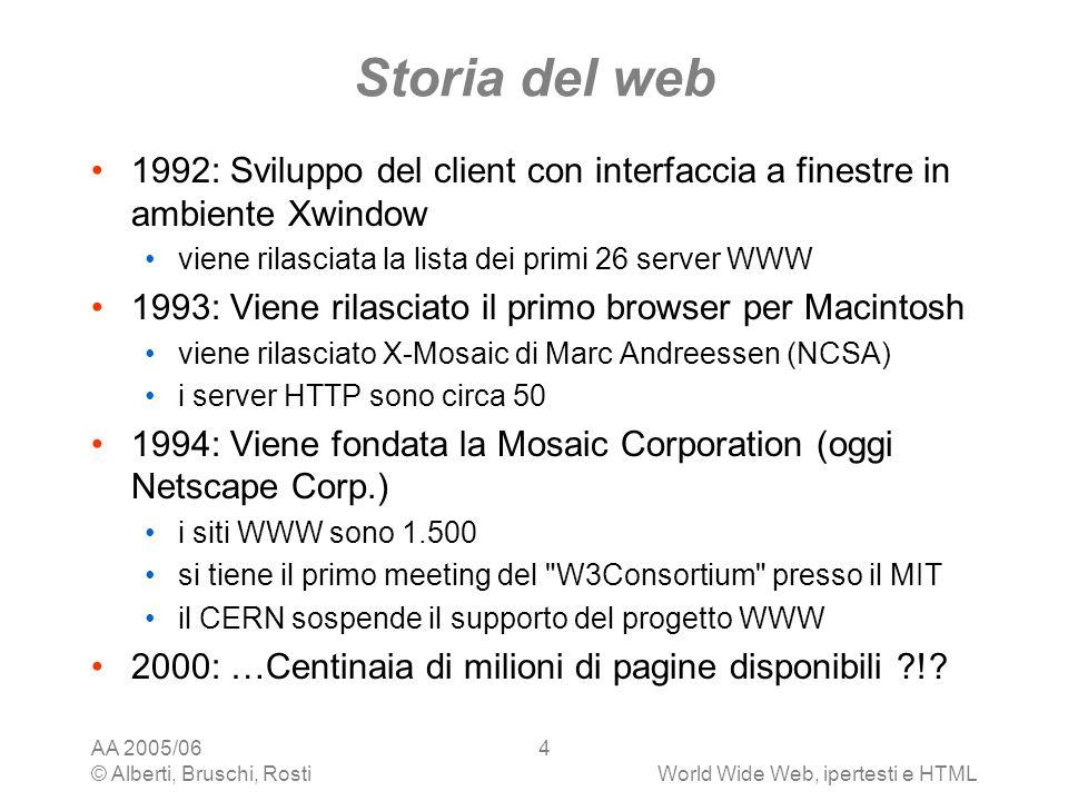 AA 2005/06 © Alberti, Bruschi, RostiWorld Wide Web, ipertesti e HTML 4 Storia del web 1992: Sviluppo del client con interfaccia a finestre in ambiente