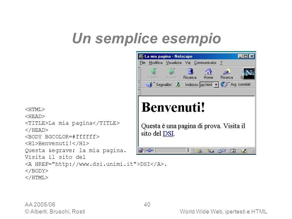 AA 2005/06 © Alberti, Bruschi, RostiWorld Wide Web, ipertesti e HTML 40 Un semplice esempio La mia pagina Benvenuti! Questa è la mia pagina. Vi