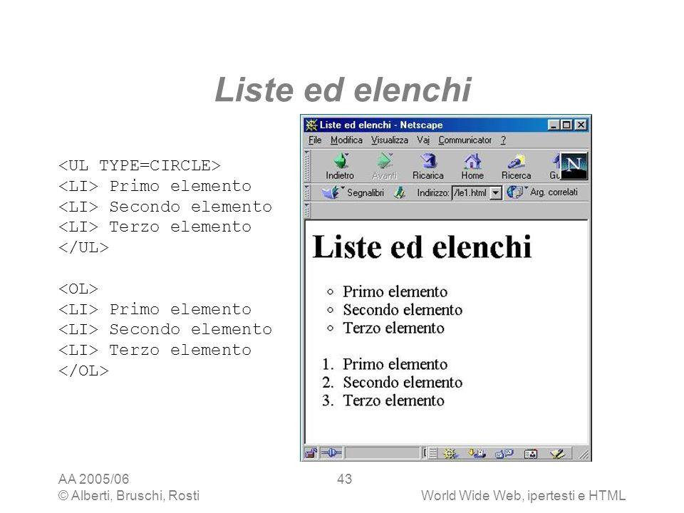 AA 2005/06 © Alberti, Bruschi, RostiWorld Wide Web, ipertesti e HTML 43 Liste ed elenchi Primo elemento Secondo elemento Terzo elemento Primo elemento
