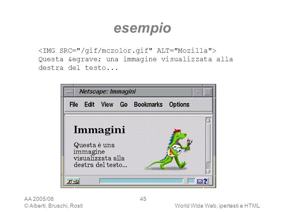 AA 2005/06 © Alberti, Bruschi, RostiWorld Wide Web, ipertesti e HTML 45 esempio Questa è una immagine visualizzata alla destra del testo...