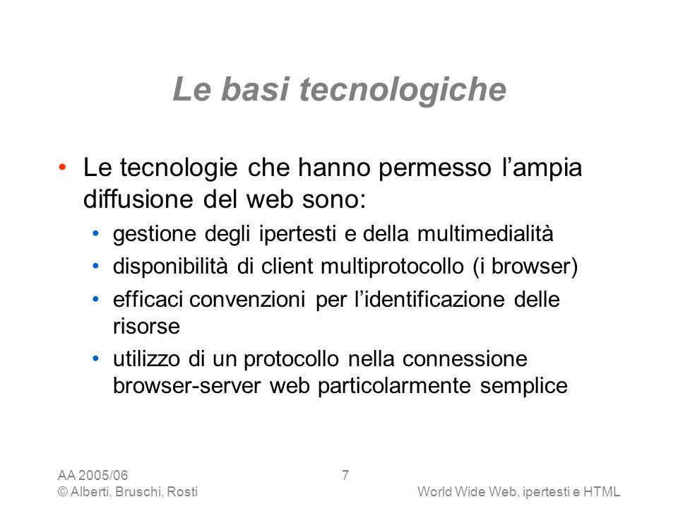 AA 2005/06 © Alberti, Bruschi, RostiWorld Wide Web, ipertesti e HTML 7 Le basi tecnologiche Le tecnologie che hanno permesso lampia diffusione del web