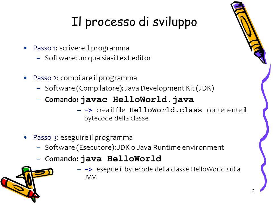 2 Il processo di sviluppo Passo 1: scrivere il programma –Software: un qualsiasi text editor Passo 2: compilare il programma –Software (Compilatore):