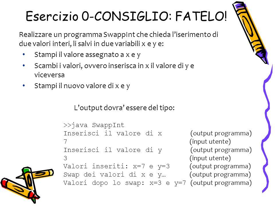 Esercizio 0-CONSIGLIO: FATELO! Realizzare un programma SwappInt che chieda liserimento di due valori interi, li salvi in due variabili x e y e: Stampi