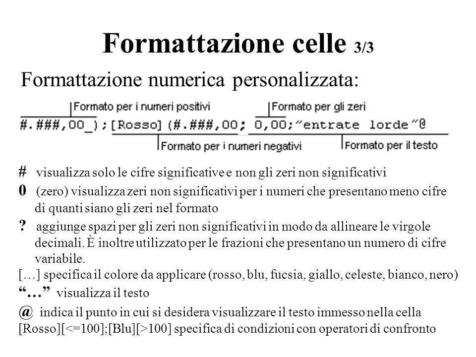 Formattazione celle 3/3 Formattazione numerica personalizzata: # visualizza solo le cifre significative e non gli zeri non significativi 0 (zero) visu