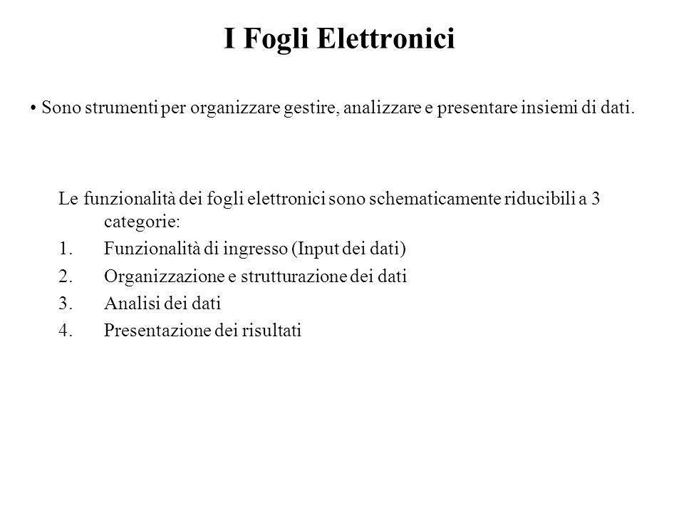 I Fogli Elettronici Sono strumenti per organizzare gestire, analizzare e presentare insiemi di dati. Le funzionalità dei fogli elettronici sono schema