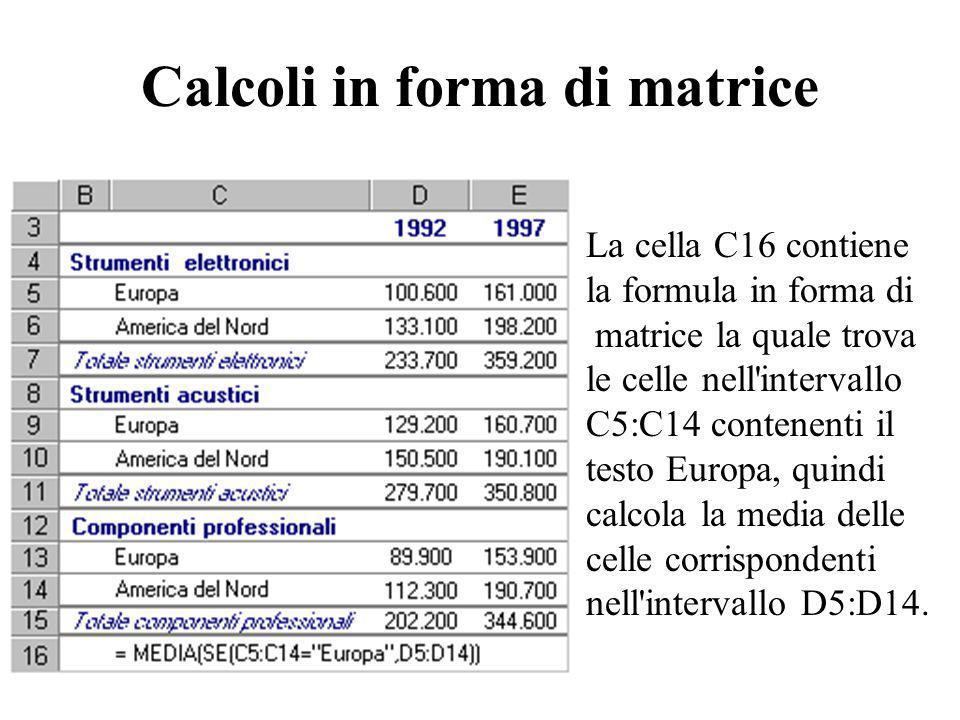 Calcoli in forma di matrice La cella C16 contiene la formula in forma di matrice la quale trova le celle nell'intervallo C5:C14 contenenti il testo Eu