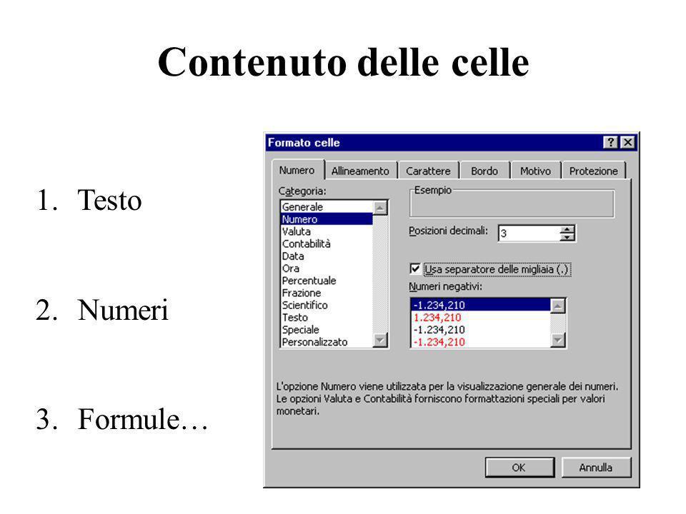 Formattazione celle 1/3 Formattazione del testo e dei singoli caratteri: Orientamento a 45° Allineamento orizzontale al centro Protezione: bloccata o nascosta (per le formule) Controllo testo: testo a capo