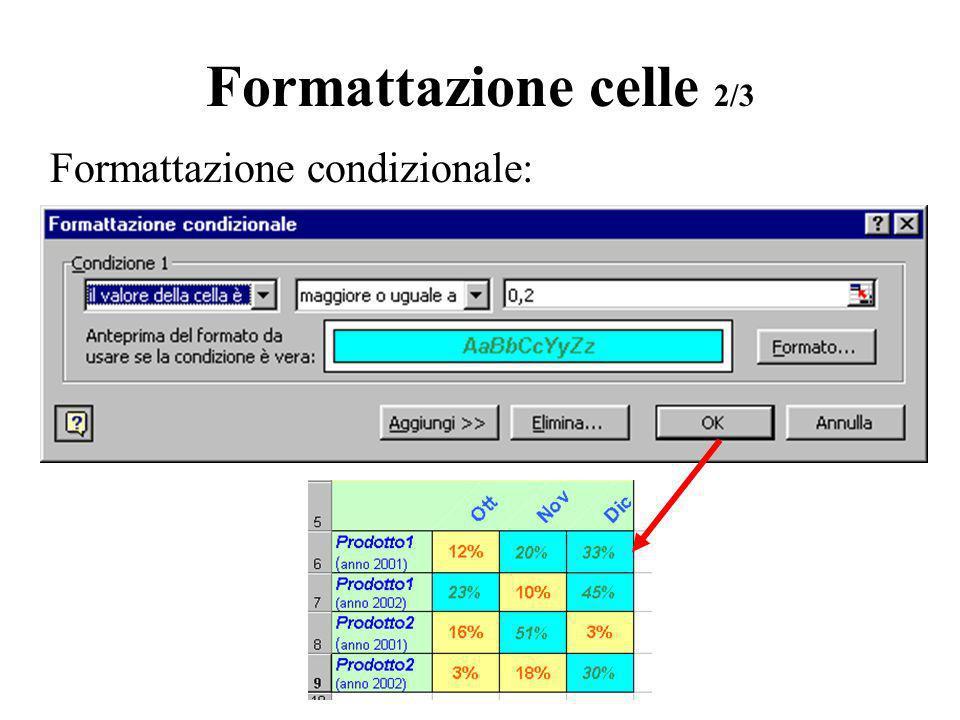 Formattazione celle 3/3 Formattazione numerica personalizzata: # visualizza solo le cifre significative e non gli zeri non significativi 0 (zero) visualizza zeri non significativi per i numeri che presentano meno cifre di quanti siano gli zeri nel formato .