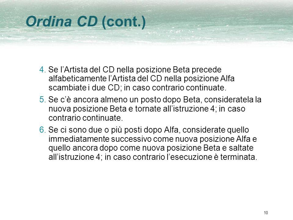10 Ordina CD (cont.) 4. Se lArtista del CD nella posizione Beta precede alfabeticamente lArtista del CD nella posizione Alfa scambiate i due CD; in ca