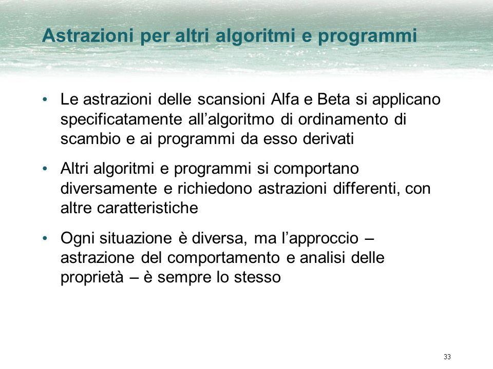 33 Astrazioni per altri algoritmi e programmi Le astrazioni delle scansioni Alfa e Beta si applicano specificatamente allalgoritmo di ordinamento di s