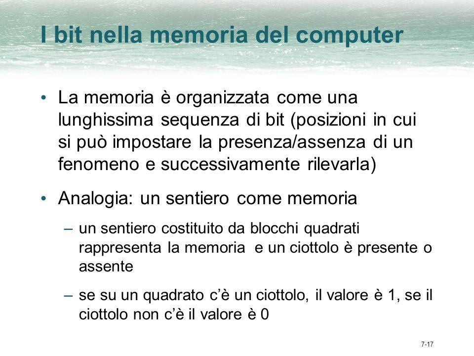 7-17 I bit nella memoria del computer La memoria è organizzata come una lunghissima sequenza di bit (posizioni in cui si può impostare la presenza/assenza di un fenomeno e successivamente rilevarla) Analogia: un sentiero come memoria –un sentiero costituito da blocchi quadrati rappresenta la memoria e un ciottolo è presente o assente –se su un quadrato cè un ciottolo, il valore è 1, se il ciottolo non cè il valore è 0