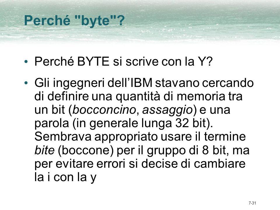 7-31 Perché byte .Perché BYTE si scrive con la Y.