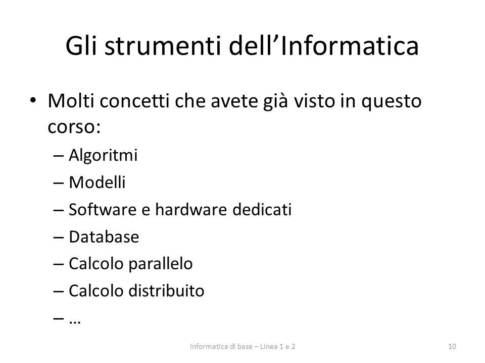 Gli strumenti dellInformatica 10Informatica di base – Linea 1 e 2 Molti concetti che avete già visto in questo corso: – Algoritmi – Modelli – Software