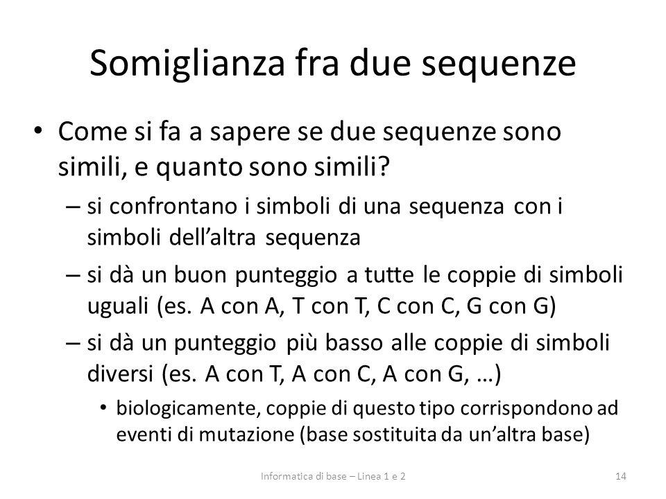 Somiglianza fra due sequenze Come si fa a sapere se due sequenze sono simili, e quanto sono simili? – si confrontano i simboli di una sequenza con i s