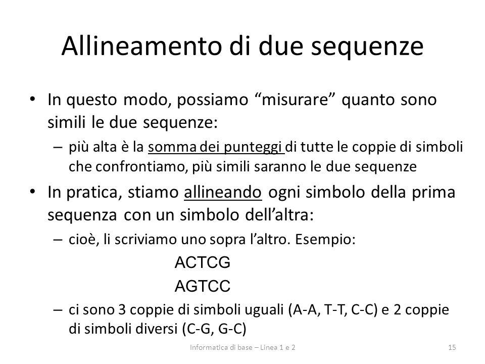 Allineamento di due sequenze In questo modo, possiamo misurare quanto sono simili le due sequenze: – più alta è la somma dei punteggi di tutte le copp