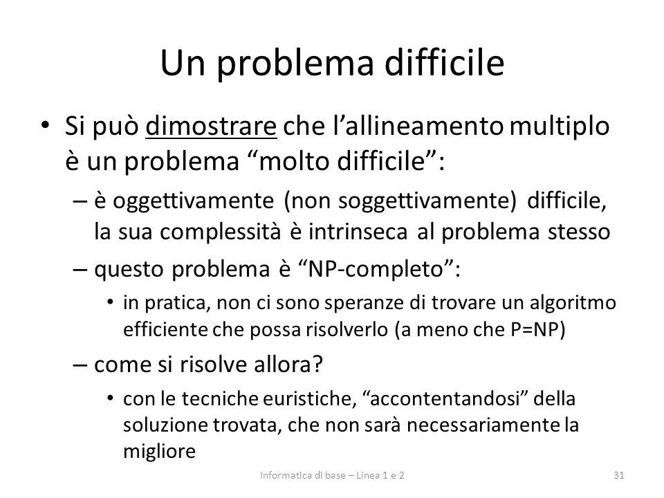 Un problema difficile Si può dimostrare che lallineamento multiplo è un problema molto difficile: – è oggettivamente (non soggettivamente) difficile,