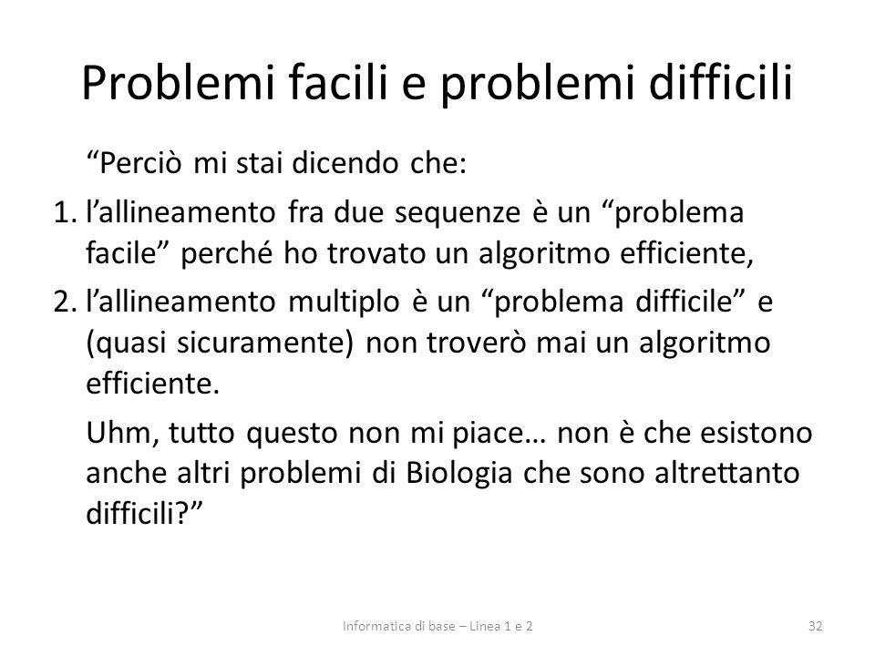 Problemi facili e problemi difficili Perciò mi stai dicendo che: 1.lallineamento fra due sequenze è un problema facile perché ho trovato un algoritmo