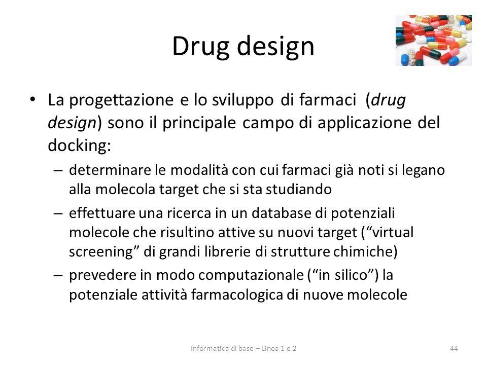 Drug design La progettazione e lo sviluppo di farmaci (drug design) sono il principale campo di applicazione del docking: – determinare le modalità co