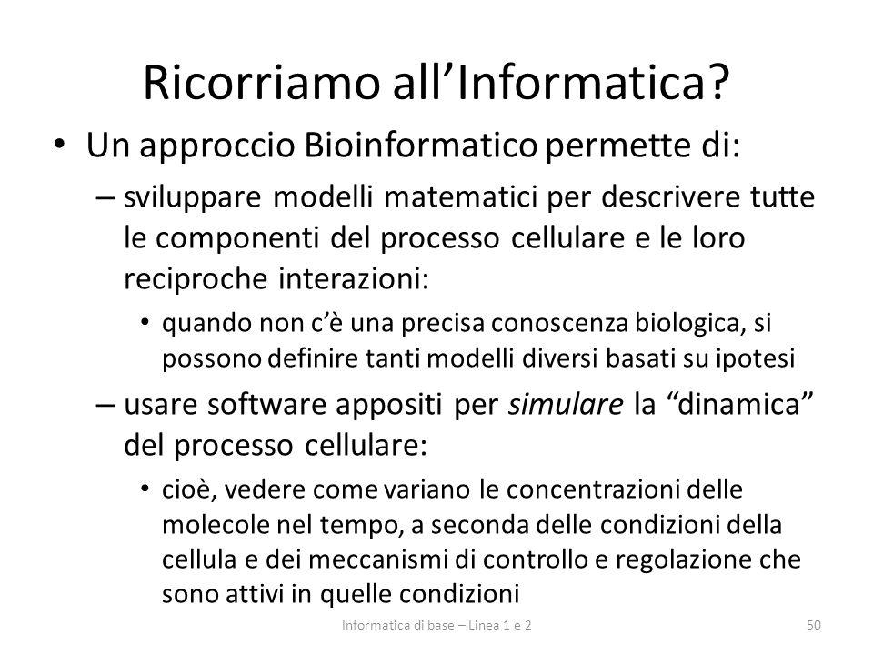 Ricorriamo allInformatica? Un approccio Bioinformatico permette di: – sviluppare modelli matematici per descrivere tutte le componenti del processo ce