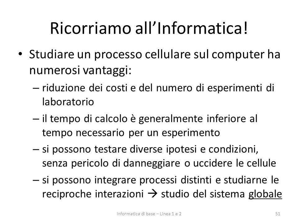 Ricorriamo allInformatica! Studiare un processo cellulare sul computer ha numerosi vantaggi: – riduzione dei costi e del numero di esperimenti di labo