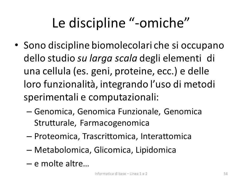 Le discipline -omiche 54Informatica di base – Linea 1 e 2 Sono discipline biomolecolari che si occupano dello studio su larga scala degli elementi di