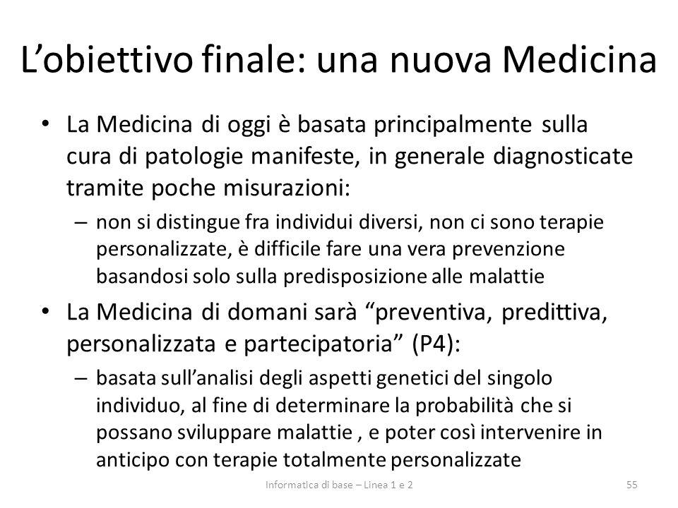 Lobiettivo finale: una nuova Medicina 55Informatica di base – Linea 1 e 2 La Medicina di oggi è basata principalmente sulla cura di patologie manifest