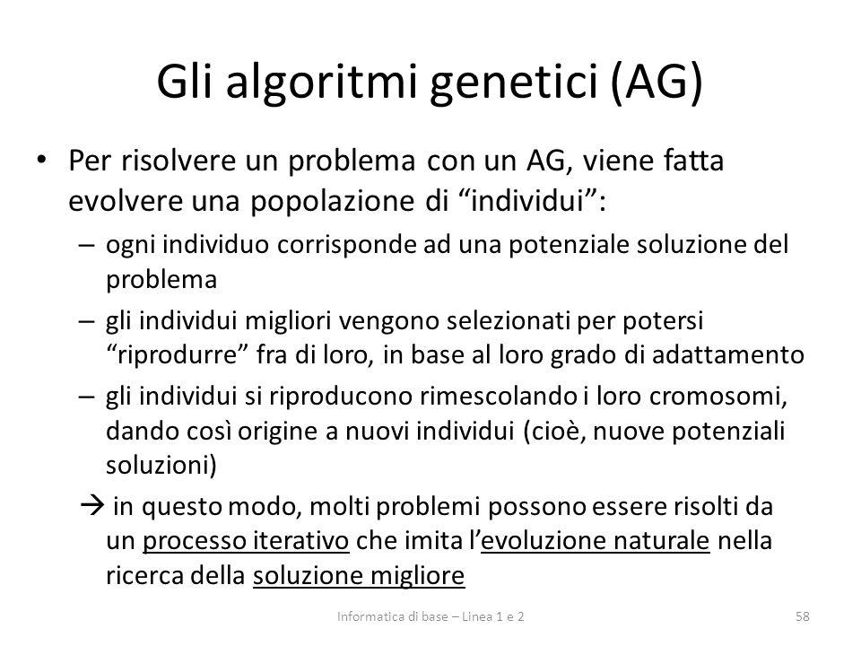 Gli algoritmi genetici (AG) Per risolvere un problema con un AG, viene fatta evolvere una popolazione di individui: – ogni individuo corrisponde ad un