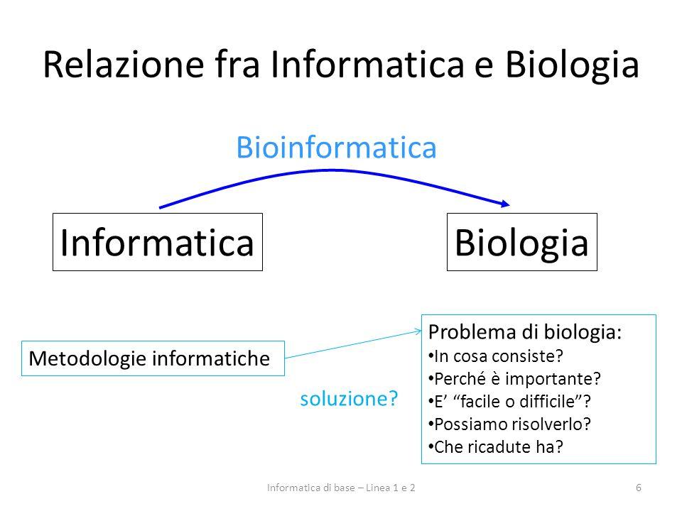 (Alcuni) problemi della Biologia (1) 7Informatica di base – Linea 1 e 2 Analisi di sequenze genomiche: – sequenziamento e mappatura di genomi – ricerca di geni con la stessa funzione in organismi diversi Analisi di sequenze e strutture proteiche: – prevedere la funzione di una proteina poco nota – ricerca di proteine omologhe in organismi diversi Evoluzione di organismi: – ricostruire lalbero filogenetico di un insieme di organismi – capire le relazioni evolutive fra proteine (e geni)