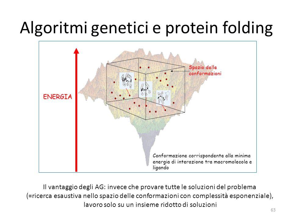 Algoritmi genetici e protein folding 63 Il vantaggio degli AG: invece che provare tutte le soluzioni del problema (=ricerca esaustiva nello spazio del