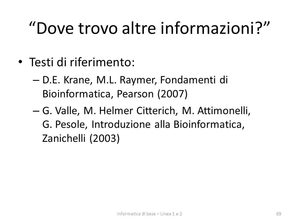 Dove trovo altre informazioni? Testi di riferimento: – D.E. Krane, M.L. Raymer, Fondamenti di Bioinformatica, Pearson (2007) – G. Valle, M. Helmer Cit
