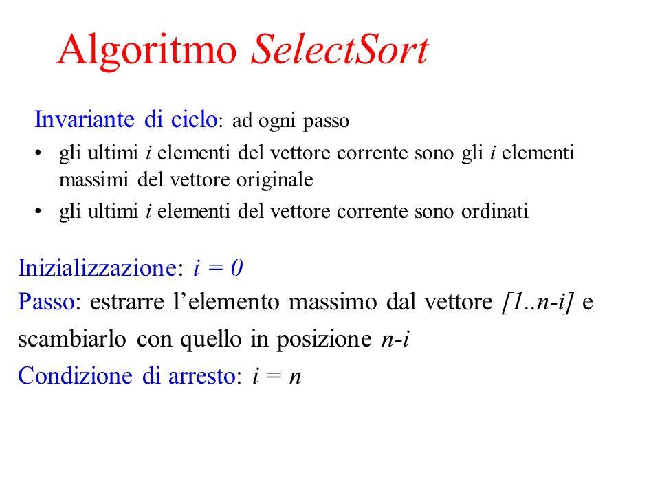 Algoritmo SelectSort Invariante di ciclo : ad ogni passo gli ultimi i elementi del vettore corrente sono gli i elementi massimi del vettore originale gli ultimi i elementi del vettore corrente sono ordinati Inizializzazione: i = 0 Passo: estrarre lelemento massimo dal vettore [1..n-i] e scambiarlo con quello in posizione n-i Condizione di arresto: i = n
