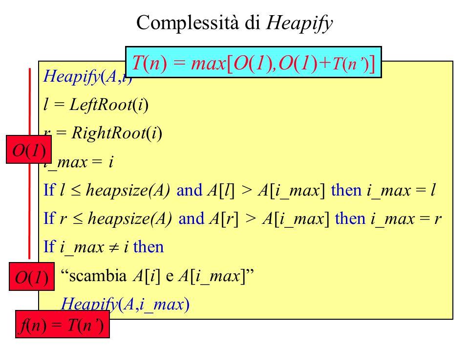 Heapify(A,i) l = LeftRoot(i) r = RightRoot(i) i_max = i If l heapsize(A) and A[l] > A[i_max] then i_max = l If r heapsize(A) and A[r] > A[i_max] then i_max = r If i_max i then scambia A[i] e A[i_max] Heapify(A,i_max) Complessità di Heapify T(n) = max[O(1),O(1)+ T(n) ] O(1)O(1) O(1)O(1) f(n) = T(n)