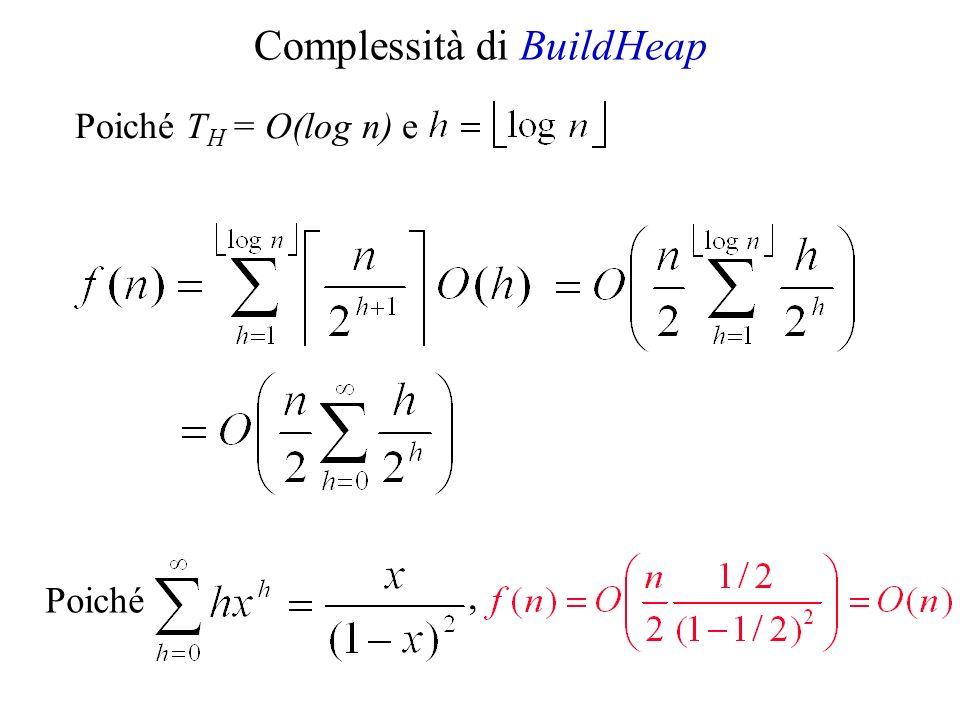 Complessità di BuildHeap Poiché Poiché T H = O(log n) e,