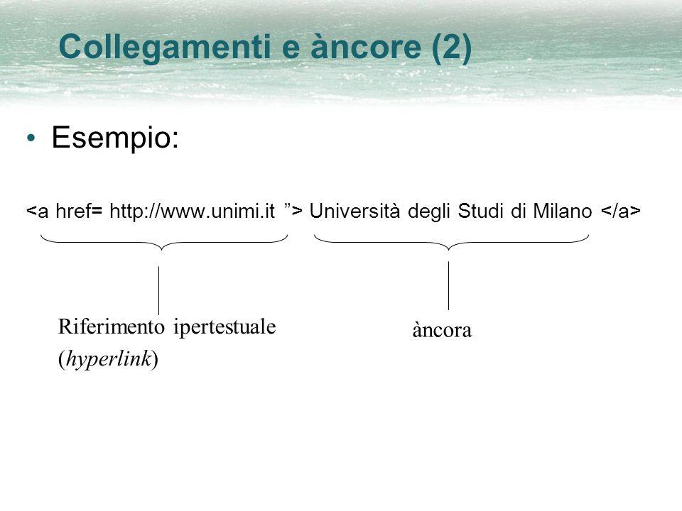 Collegamenti e àncore (2) Esempio: Università degli Studi di Milano Riferimento ipertestuale (hyperlink) àncora