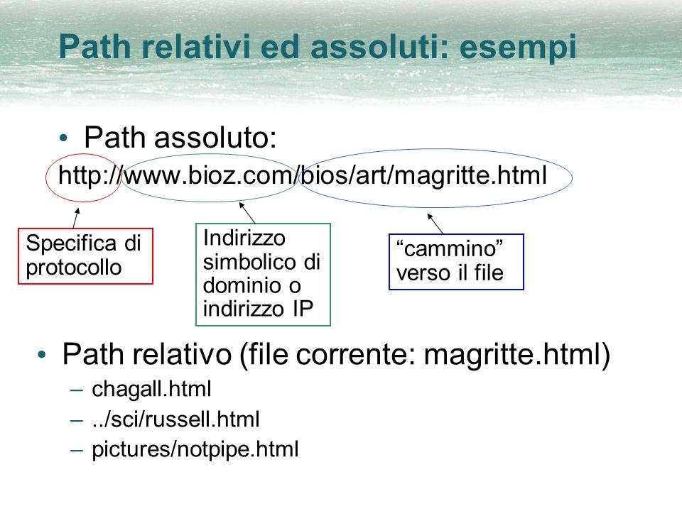 Path relativi ed assoluti: esempi Path assoluto: http://www.bioz.com/bios/art/magritte.html Specifica di protocollo Indirizzo simbolico di dominio o i