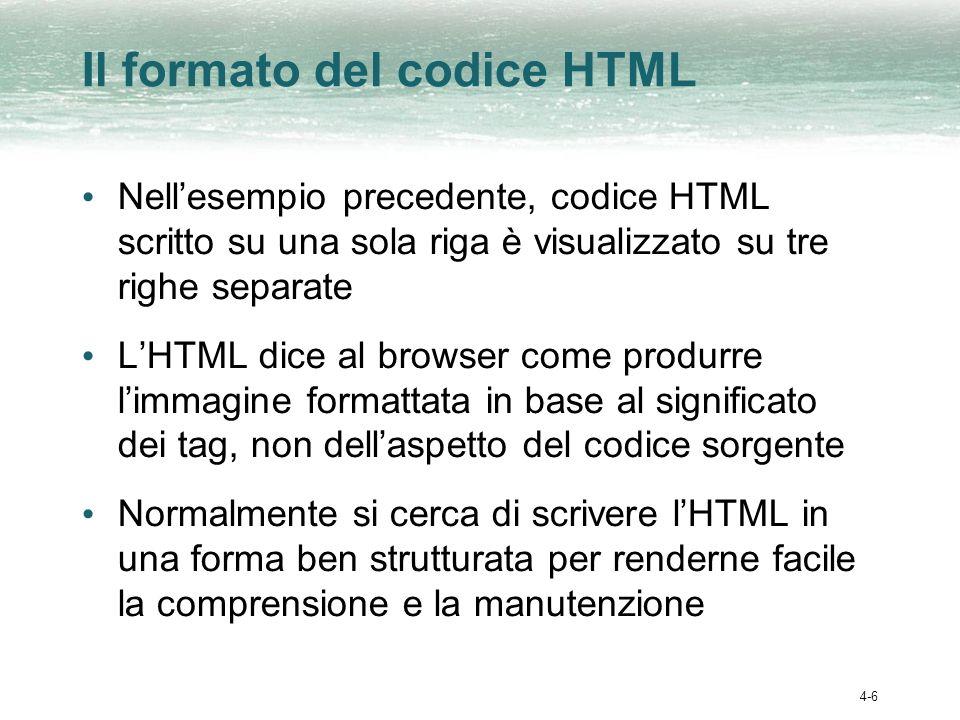 4-6 Il formato del codice HTML Nellesempio precedente, codice HTML scritto su una sola riga è visualizzato su tre righe separate LHTML dice al browser