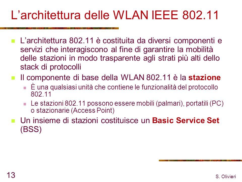 S. Olivieri 13 Larchitettura delle WLAN IEEE 802.11 Larchitettura 802.11 è costituita da diversi componenti e servizi che interagiscono al fine di gar