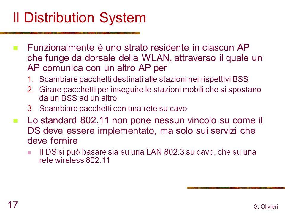 S. Olivieri 17 Il Distribution System Funzionalmente è uno strato residente in ciascun AP che funge da dorsale della WLAN, attraverso il quale un AP c