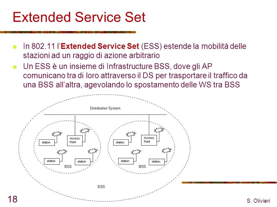 S. Olivieri 18 Extended Service Set In 802.11 lExtended Service Set (ESS) estende la mobilità delle stazioni ad un raggio di azione arbitrario Un ESS
