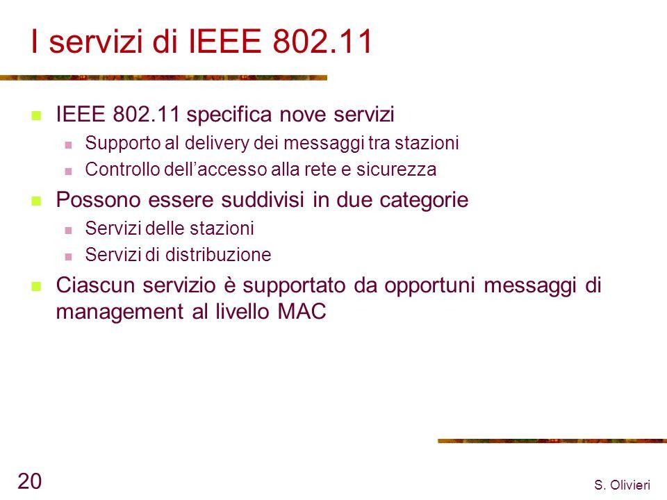 S. Olivieri 20 I servizi di IEEE 802.11 IEEE 802.11 specifica nove servizi Supporto al delivery dei messaggi tra stazioni Controllo dellaccesso alla r