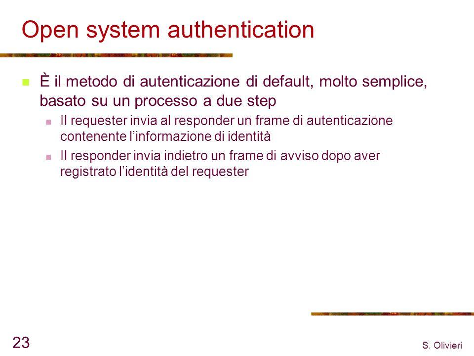 S. Olivieri 23 Open system authentication È il metodo di autenticazione di default, molto semplice, basato su un processo a due step Il requester invi