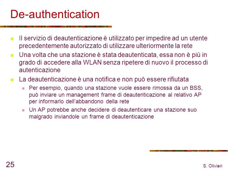 S. Olivieri 25 De-authentication Il servizio di deautenticazione è utilizzato per impedire ad un utente precedentemente autorizzato di utilizzare ulte