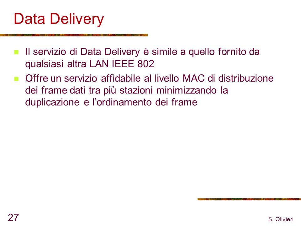 S. Olivieri 27 Data Delivery Il servizio di Data Delivery è simile a quello fornito da qualsiasi altra LAN IEEE 802 Offre un servizio affidabile al li