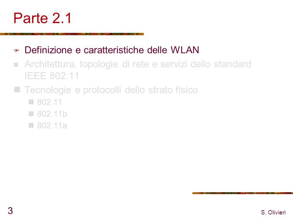S. Olivieri 3 Parte 2.1 Definizione e caratteristiche delle WLAN Architettura, topologie di rete e servizi dello standard IEEE 802.11 Tecnologie e pro