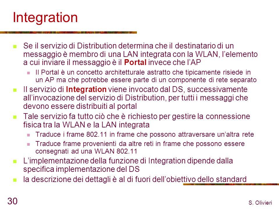 S. Olivieri 30 Integration Se il servizio di Distribution determina che il destinatario di un messaggio è membro di una LAN integrata con la WLAN, lel