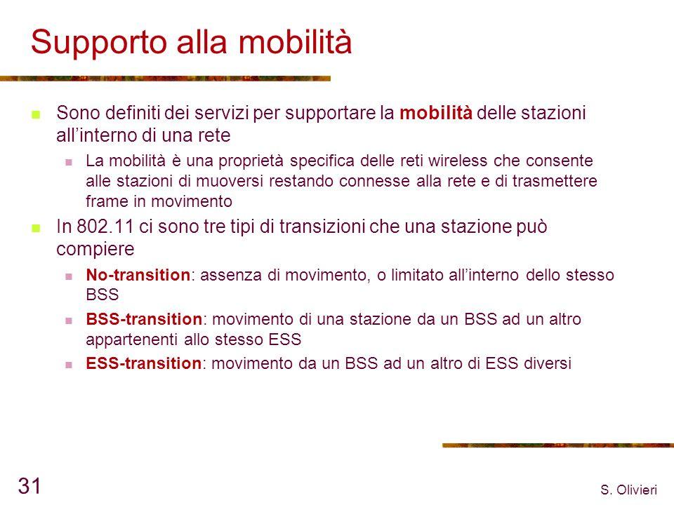 S. Olivieri 31 Supporto alla mobilità Sono definiti dei servizi per supportare la mobilità delle stazioni allinterno di una rete La mobilità è una pro