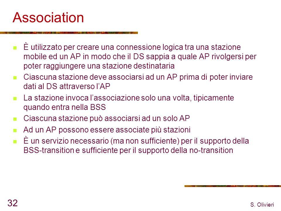S. Olivieri 32 Association È utilizzato per creare una connessione logica tra una stazione mobile ed un AP in modo che il DS sappia a quale AP rivolge
