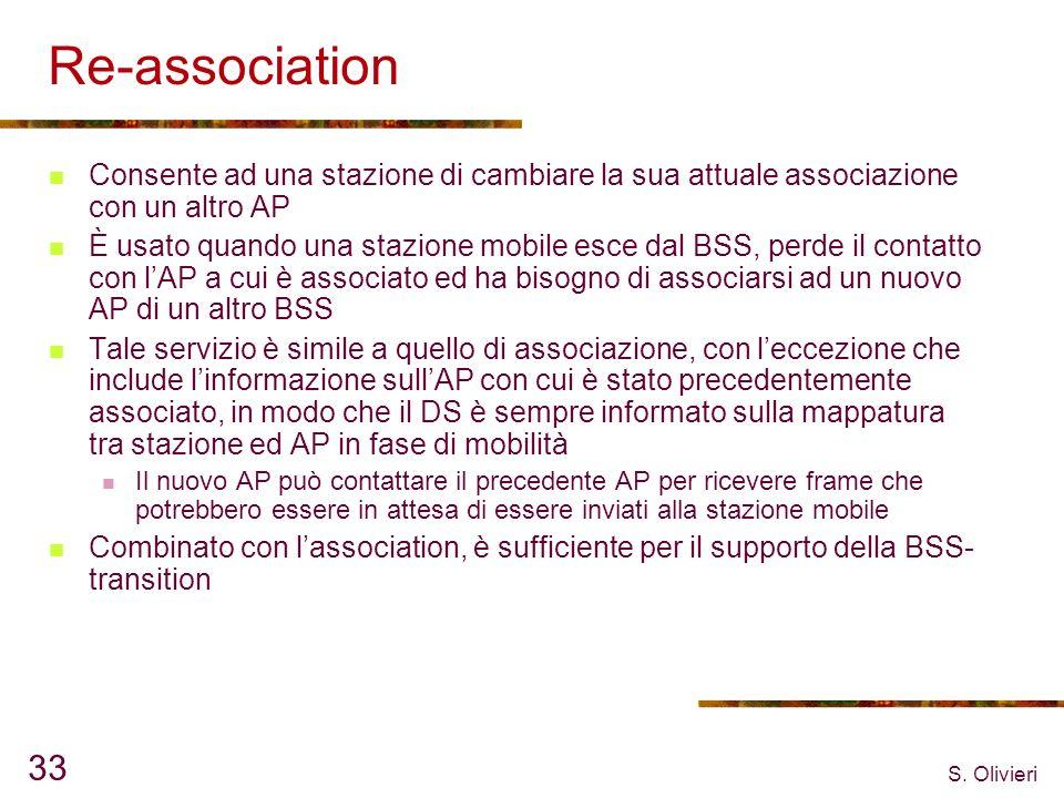 S. Olivieri 33 Re-association Consente ad una stazione di cambiare la sua attuale associazione con un altro AP È usato quando una stazione mobile esce