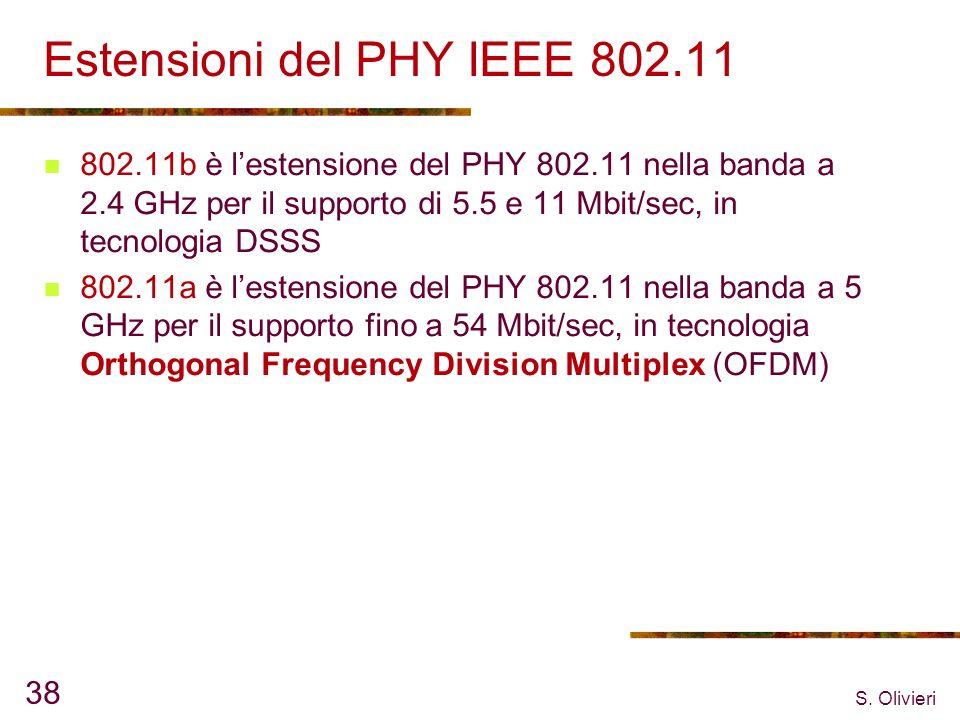 S. Olivieri 38 Estensioni del PHY IEEE 802.11 802.11b è lestensione del PHY 802.11 nella banda a 2.4 GHz per il supporto di 5.5 e 11 Mbit/sec, in tecn