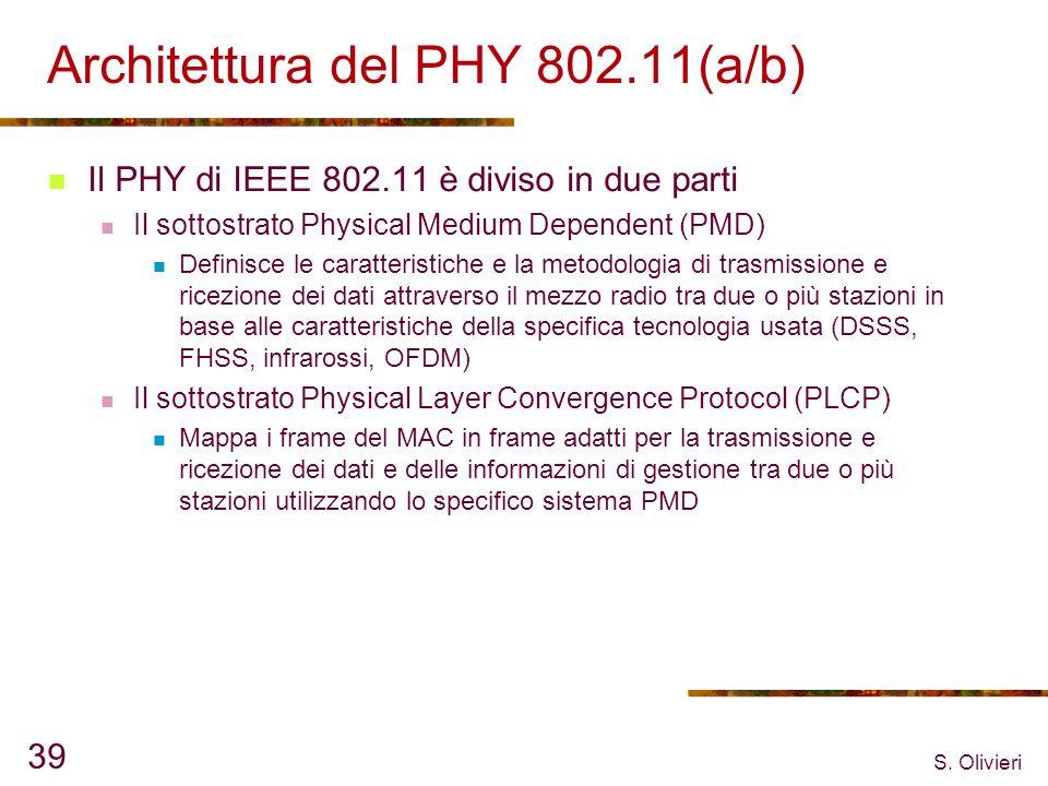 S. Olivieri 39 Architettura del PHY 802.11(a/b) Il PHY di IEEE 802.11 è diviso in due parti Il sottostrato Physical Medium Dependent (PMD) Definisce l